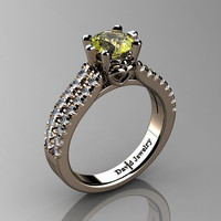 Classic 14K Rose Gold 1.0 Ct Yellow Topaz Diamond Solitaire Engagement Ring R1027-14KRGDYT