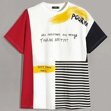 Fashion Casual Men Cut And Sew Letter Striped T-shirt