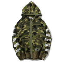 Bape Aape Autumn And Winter New Fashion Letter Print Camouflage Women Men Hooded Long Sleeve Sweater Coat Green