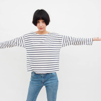 Striped Oversize Shirt, with Long Sleeves, Cotton Tricot Blue A/ White Sailors stripes, Casual Loose fit Tee