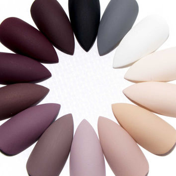 Matte Press On Nails - Stiletto Acrylic Nails - Gel Fake Nails - Pointy False Nails - Claw Glue On Nails - Plain Colour Artificial Nails