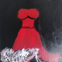 "Orginal Abstract Art Oil Painting Handmade on Wrapped Canvas w/Wood Framing 12x16"" Red dress"