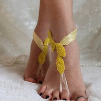 barefoot sandals processing yellow beads,beach wedding,bridal anklet