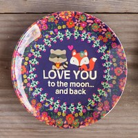 Mini  Melamine  Plates:  Love  You  To  The  Moon  Foxes  Mini  Melamine  Plate  From  Natural  Life