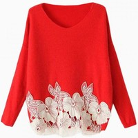 Red Knit Sweater with White Floral Embroidered Bottom