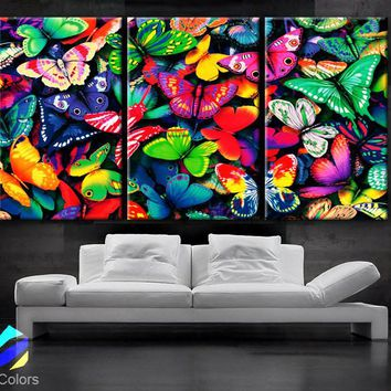 """LARGE 30""""x 60"""" 3 Panels Art Canvas Print beautiful Butterflies Butterfly colors Wall home Decor interior"""