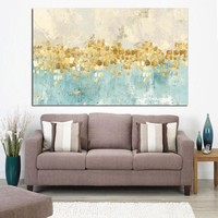 Canvas Wall Art: Abstract Gold Money Sea Wave Wall Art on Canvas