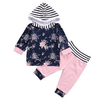 2016 Autumn style infant clothes baby Girls clothing sets Girls Floral Long Sleeve Hooded Tops +Pants Outfits Set Clothes 0-24M