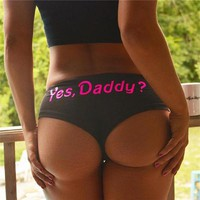 Letter Print Solid Cotton Underpant Brief Panty