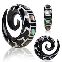 Organic Spiral Buffalo Horn Taper with Abalone Inlays