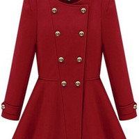 Double Breasted Flouncing Woolen Red Coat