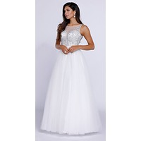 Long Sweet 16 Tulle Dress A Line White Sleeveless Ball Gown