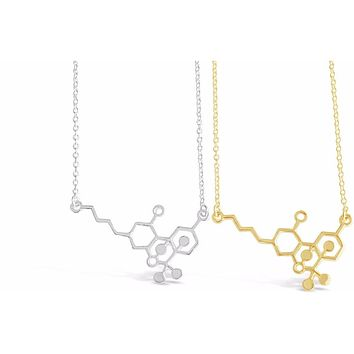 Cannabis Molecule Necklace