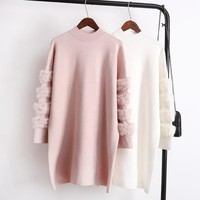Autumn Winter Women Knitted Long Pullovers Sweater Female Thick Warm Sweaters Knitted Jumpers Dress Y05