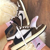 Travis Scott x Air Jordan 1 High street fashion all-match sneakers shoes