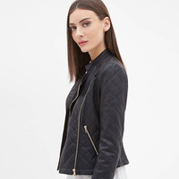Black Diamond Quilted Zipper Leather Jacket