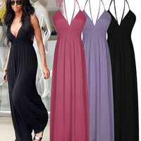 2016 New Summer Sexy Halter Strappy Long Flare Maxi Dress Beach Casual Style