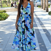 Chiffon Floral Print Slit Maxi Dress  11569