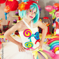 Candy land Themed outfit- tutu, corset top, and Ott hair piece- size newborn to 5t