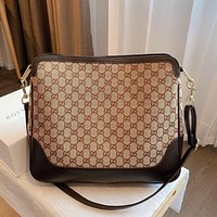 Gucci casual canvas shopping bag couple style trendy one-shoulder messenger bag