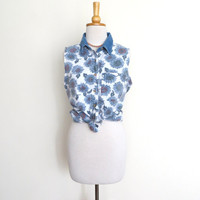 90's Denim Sunflower Shirt / Floral Button Up Vest Southwestern Country / Women's Small 4 to 6