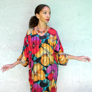 Vintage Lounge Dress, Designer 80s Semi Sheer Lounge Dress w Psychedelic Floral n Stripe Print Fabric by Mary McFadden, Made in USA, M L XL