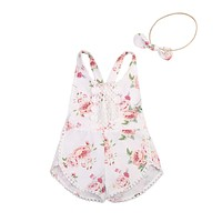 Baby Clothing born Kid Baby Girl Floral Romper Clothes Sleeveless Jumpsuit Tassel Sunsuit Outfit Set