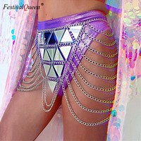 Festival Queen bling sequins metal chain hollow skirt women summer package hip acrylic sequined nightclub mini skirt