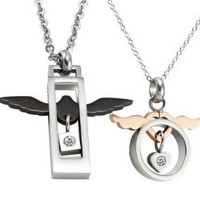"""Stainless Steel Angel Wings Couple Necklaces 20"""" And 18""""-SN3272: Jewelry: Amazon.com"""
