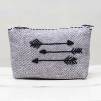 hand embroidered case / zipper pouch / gray coin purse arrow Coin Pouch embroidery girlfriend mother wife gift modern minimalist