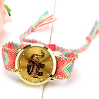 Woven Friendship Bracelet Wristwatch