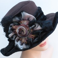Opera Hat  Brown Fleece  Silk Velvet Flower by annashoub on Etsy