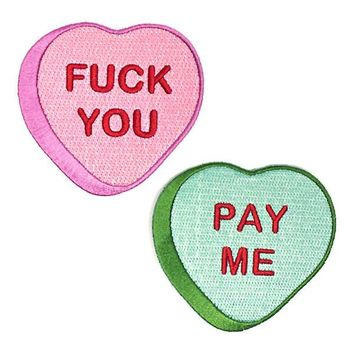 Fuck You Pay Me Hearts Patch Set