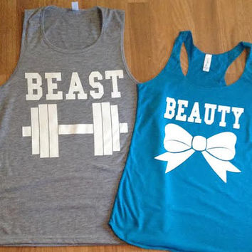 Free/Fast Shipping for US Beauty And The Beast and Tank Tops. Heather Gray and Turquoise(White  Decal)