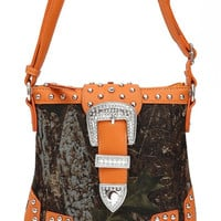 * Western Cowgirl Camouflage Print Rhinestone Belt Deco Messenger Bag In Orange