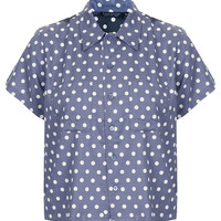 Crop Contrast Polka Dot Shirt - New In This Week - New In - Topshop USA