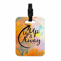 "Ebi Emporium ""Up Up & Away"" Orange Typography Decorative Luggage Tag"
