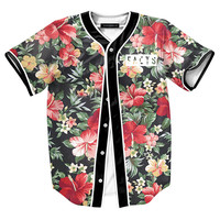 Men 23 Landscape Floral Print Beach T shirts