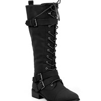 Vegan Leatherette Knee High Lace Up Harness Moto Women's Boot