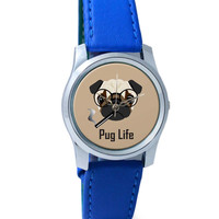 Pug Life Funny Dog illustration Wrist Watch