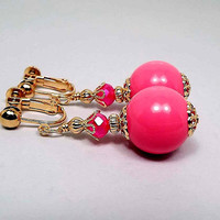 Clip on Earrings, Hot Pink Drop Earrings, Bright Pink Round Beaded, Gold Plated Made with Vintage Lucite Beads, Mod Jewelry, Lever Back Hook