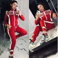PUMA New Popular Women Casual Round Collar Top Pants Set Two-Piece red