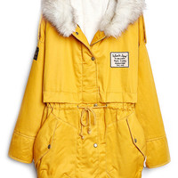 ROMWE   Hooded Fake Leather Pocketed Loose Yellow Coat, The Latest Street Fashion