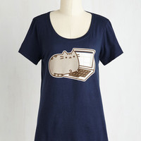 Cats Mid-length Short Sleeves Pusheen My Buttons Top