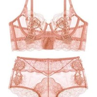 High Waist UnderWire Transparent Set - Pink