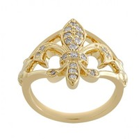 1/4ct tw Fleur De Lis Diamond Fashion Ring in 14K Yellow Gold - Diamond Rings - Jewelry & Gifts