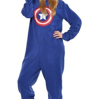 Adult Captain America One Piece Pajama- Party City