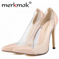 Women Patent Leather High Heels Sexy Transparency Corset Pointed Toe Party Pumps Lady Wedding Shoes US Size 4-11 Star Same Style