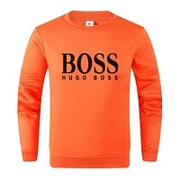 Hugo Boss Autumn And Winter New Fashion Bust Letter Print Women Men Leisure Long Sleeve Sweater Orange
