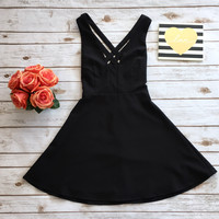 Black Cut It Out Skater Dress